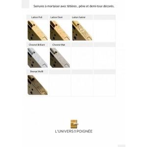 Serrures avec têtières décorées et ouvragées gamme LUXE Pêne dormant et pêne demi-tour décorés à l'identique de la têtière.
