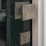 Bouton de porte carre bronze