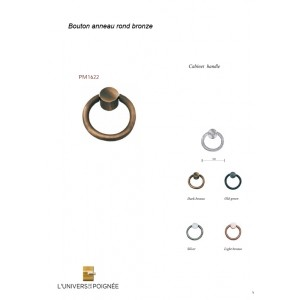 Bouton de meuble anneau en bronze