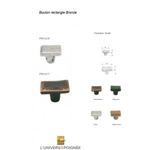 Bouton de meuble rectangle en bronze