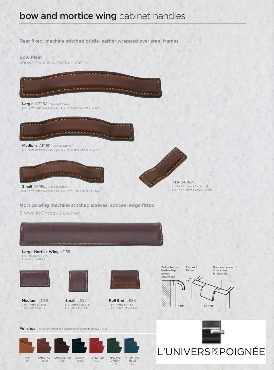 Poign e de meuble anse en cuir avec couture - Poignee de meuble en cuir ...